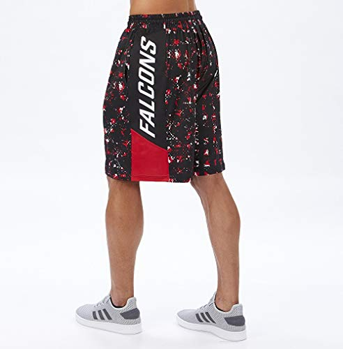 Zubaz NFL Herren Color Grid Shorts, Herren, NFL Atlanta Falcons Team Color Grid Shorts, Lg, Multi, Large