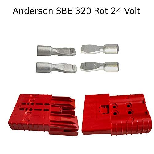 Anderson - Conector de batería (24 V, SBE, 320 A, clavija de contacto SBX/E, 95 mm²), color rojo