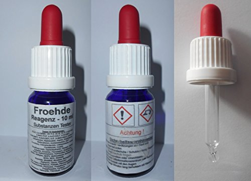 Schnelltest für Drogen und Substanzen Tester mit Farbskala - Froehde Reagenz 10 ml - Testet 72 Substanzen und Drogen - für ca.50 Anwendungen