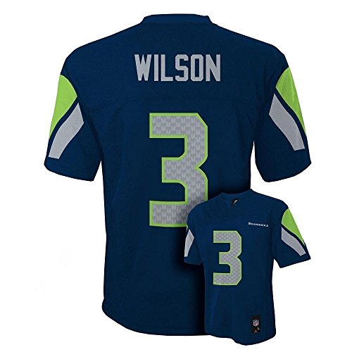 Russell Wilson Seattle Seahawks NFL Boys Youth 8-20 Navy Home Mid-Tier Jersey (Medium 10-12)