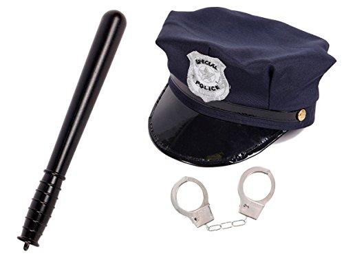 Alsino Kit de déguisement Policier pour Enfant (KV-71) Ensemble de 3 Accessoires: Casquette + Matraque + Paire de Menottes avec 2 clés