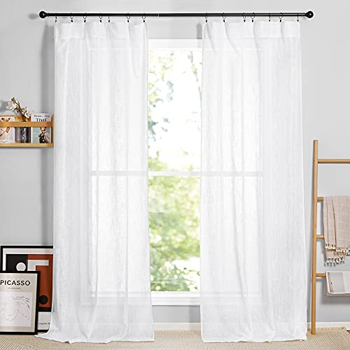 RYB HOME White Sheer Curtains 84 inches Long, Semi Sheer Linen Curtains Privacy Natural Linen Blend Drapes Sunlight Filtering for Living Room Bedroom Patio Door, W 52 x L 84, 1 Pair
