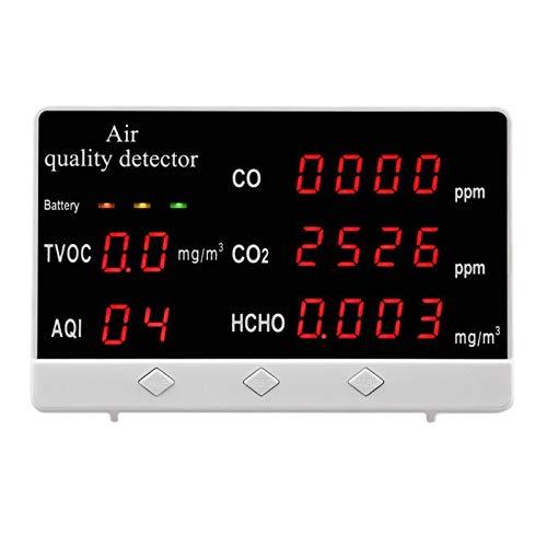 MYXE Tragbare Luftqualitätsmonitor Multifunktionsgasanalysator CO2 / HCHO/CO/TVOC/AQI Tester-Detektor für Zuhause (Color : White)