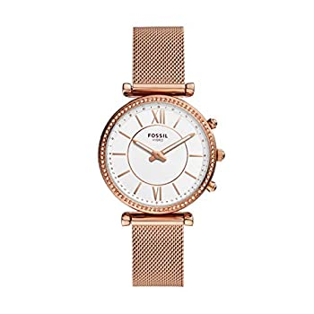 Fossil Women s 36mm Carlie Stainless Steel Mesh Hybrid Smart Watch Color  Rose Gold  Model  FTW5060