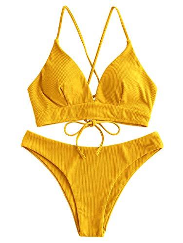ZAFUL Damen Sommer Gerippt Lace Up Spaghetti-Träger Bikini Set Gelb L