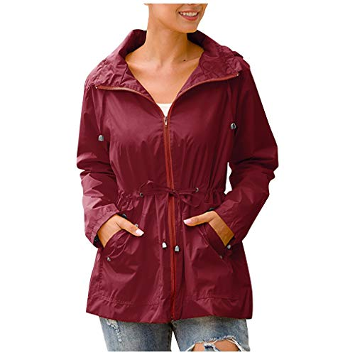 Cardi Women Zipper Hooded Waterproof Mid-Length Windproof Raincoat Outdoor Jacket Wine