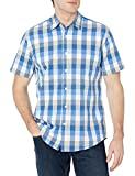 Amazon Essentials Men's Regular-Fit Short-Sleeve Shirt, Blue/Grey, Large