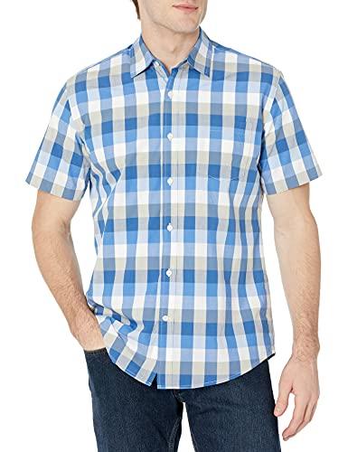 Amazon Essentials Herren-Hemd, Kurzarm, normale Passform, kariert, aus Popeline, Blue/Grey, US M (EU M)