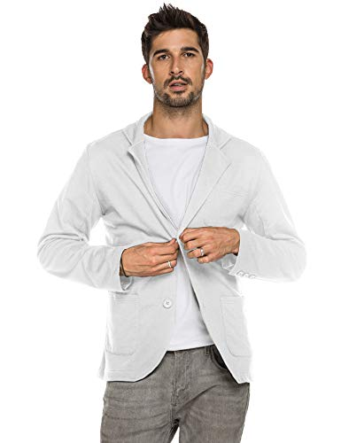 COOFANDY Mens Lightweight Sports Coats Two Button Casual Suit Blazer Jackets Pajamas Cotton White