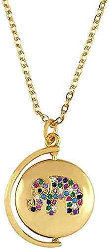 Yiffshunl Collar Mujer Collar Joyas Mujer Colgante Mujer con Moneda Retro Elefante Cuerno Collar Ojo del Diablo Collar Regalo