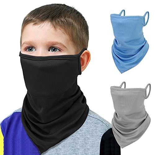 MoKo Kids Bandana Face Mask with Filter Pocket Ear Loops, 3 Pack Neck Gaiter Balaclava for UV Sun Dust Wind Protection Cycling Neck Tube Scarf Headband for Boys Girls, Light Blue + Light Gray + Black