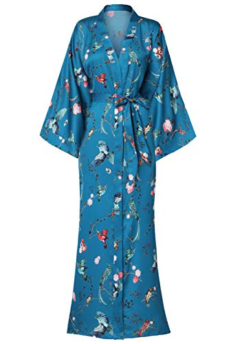 ArtiDeco Damen Morgenmantel Maxi Lang Seide Satin Kimono Kleid Blüten Muster Kimono Bademantel Damen Lange Robe Blumen Schlafmantel Girl Pajama Party 135 cm Lang (Vögel)