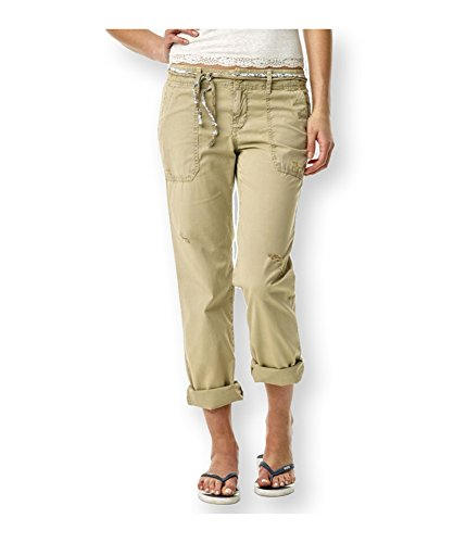 Aeropostale Womens Straight Leg Belted Casual Chino Pants, Beige, 1/2 Regular