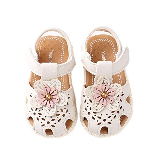 Auxma Baby Mädchen Weiche Sohle Sandalen rutschfeste Kleid Hochzeit Krippe Schuhe für 6-36 Monate (23 EU, Weiß)