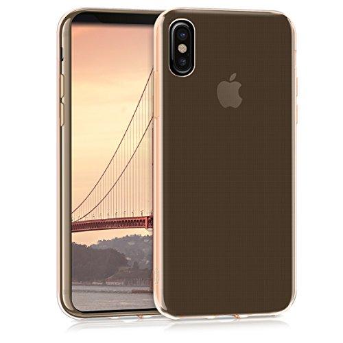 kwmobile Cover Compatibile con Apple iPhone X - Custodia in Silicone TPU - Back Case Cover Protezione Posteriore - Oro Rosa/Trasparente