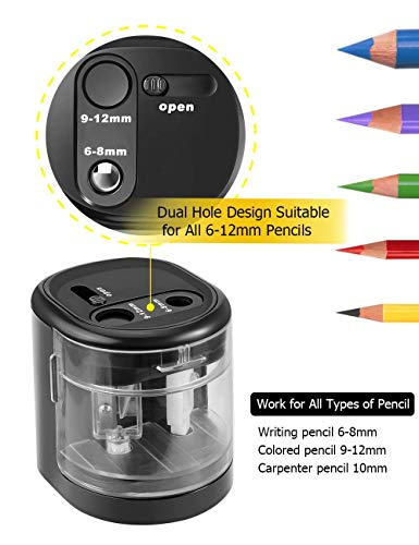 AFMAT Large Pencil Sharpener, Pencil Sharpener Large Hole for Kids, Small Electric Colored Pencil Sharpeners for Artists, 2 Holes,Battery Operated for 6-12mm No.2 Pencils, Eyebrow Pencils,Soft Pencils Photo #3