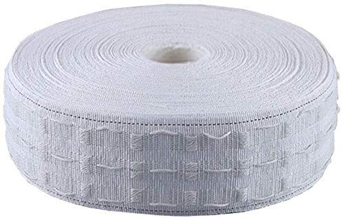 Kaptin Gardinenband, Bleistiftfaltenband, breit, weiß, Bleistiftfalten, Vorhangband für abnehmbare Vorhänge (7 cm x 25 m)
