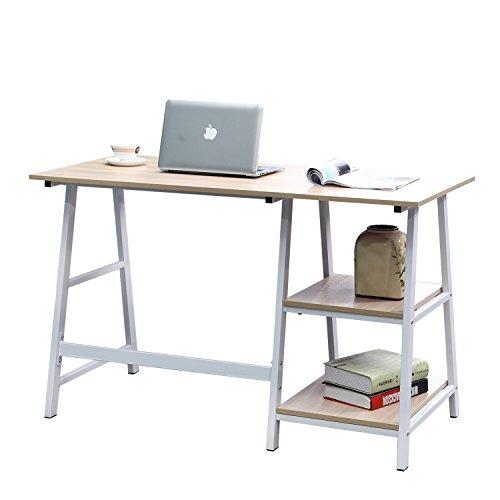 DlandHome Escritorio de Madera de 120 * 60 cm con estantes Mesa de Escritura de Postes de Trabajo para el hogar y la Oficina, Arce & Blanco