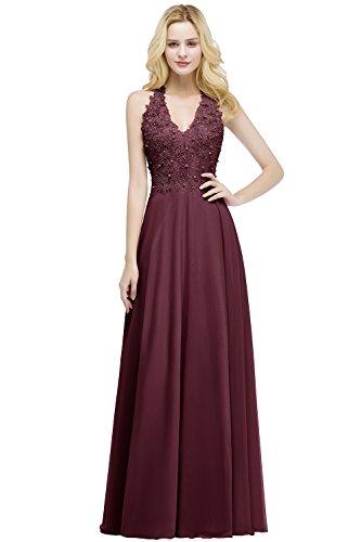 MisShow Ballkleid Abendkleid Lang Ärmellos Perlenstickerei Applique Chiffon Abschlusskleid, Weinrot, 32