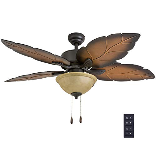 """Prominence Home 50689-01 Pacific Sail Tropical Ceiling Fan (3 Speed Remote), 52"""", Mocha, Bronze"""