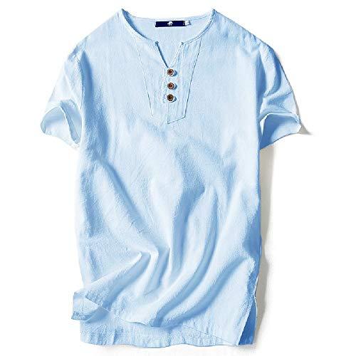 NOBRAND - Camiseta de manga corta para hombre de lino y algodón para hombre