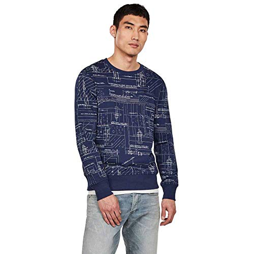 G-STAR RAW Salant Core Round Neck Sweat-Shirt, Multicolore (Imperial Blue/Milk Ao 6105), X-Small Homme