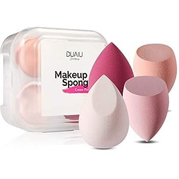 DUAIU 4 Pcs Makeup Sponge Set Blender Beauty Foundation Blending Sponge Flawless for Liquid Cream and Powder Multi-colored Makeup Sponges with Storage Box