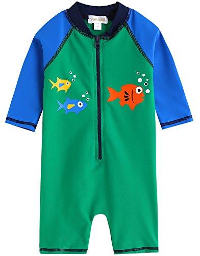 [Livraison gratuite] Vaenait bébé 0–24 m bébé garçon des manches longues One Piece Maillot de bain pour bébé Vert Tang - Vert - petit