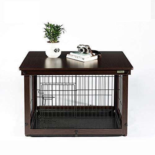 Jaula de perro Bandeja ABS jaula de perro de interior Cerca Cerca del gato de madera al aire libre de la jaula jaula de perro Dog House Tread Net Plus Plus Plus jaula cubierta de madera del marrón os