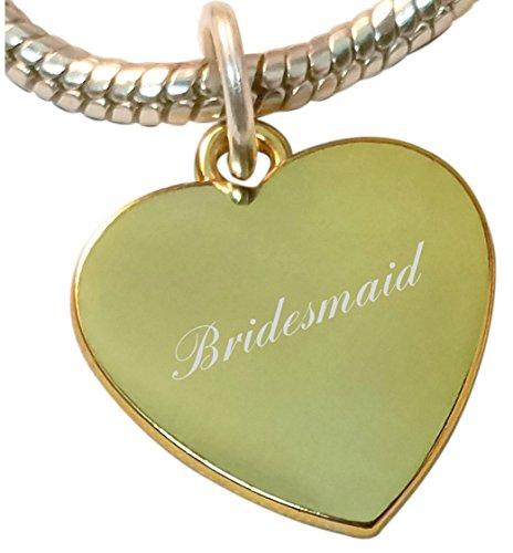 Bridesmaid heart charm, compatible with pandora & chamilia European bead bracelets - ref-gph