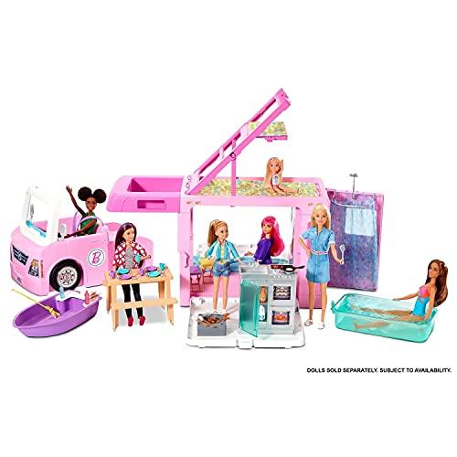 Barbie Caravana para acampar 3 en 1 de Barbie con piscina, camioneta, barca y 50 accesorios, regalo para niñas y niños 3-9 años (Mattel GHL93)