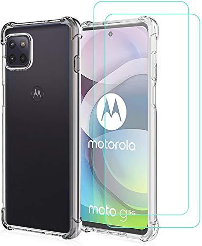 Young & Min Cover per Motorola One 5G Ace/MotoG5G + Pellicola Vetro Temperato, Custodia Sottile Silicone TPU Bumper Case Antiurto Antigraffi Case Cover per MotoG5G
