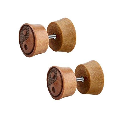 2 pendientes de dilatación falsa de madera, con logotipo de Yin Yang, color marrón, 10 mm de diámetro