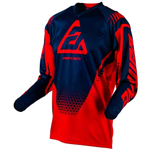 Answer Syncron Drift Herren Motocross Jersey - Rot/Blau - Hellrot/Midnight, M