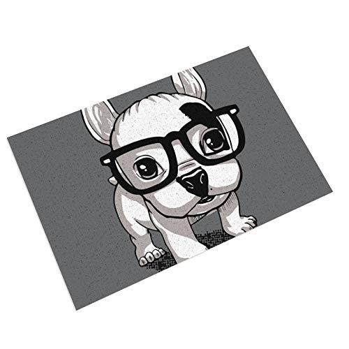 Lovely Striped Frenchie Puppy PVC Doormat Non-Slip Waterproof Outdoor Entrance Door Mat Rug Pad