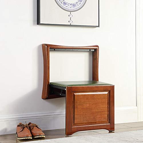 Le banc de chaussures a fixé au fauteuil, la chaise se pliante en bois pleine cachée par entrée, tabouret de mur accrochant résistant avec le crochet, économiser de l'espace et une installation facile