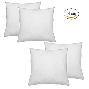IZO All Supply Square Sham Stuffer Hypo-Allergenic Poly Pillow Form Insert, 18  L x 18  W (4 Pack)