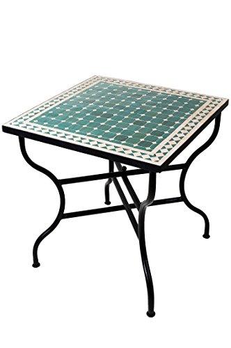 ORIGINAL Marokkanischer Mosaiktisch Gartentisch 70x70cm Groß eckig klappbar | Eckiger klappbarer Mosaik Esstisch Mediterran | als Klapptisch für Balkon oder Garten | Marrakesch Grün Natur 70x70cm