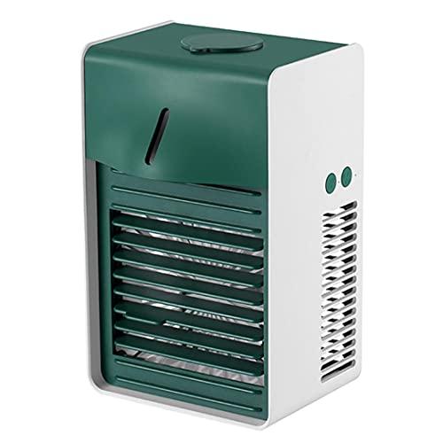 涼玉冷風扇 LEDライト搭載卓上冷風機 260ml大容量卓上冷風扇 小型 ミニ冷風扇 充電式またusb充電小型エアコン ミニクーラー ポータブルエアコン 静音 省エネ 加湿 冷却 浄化 静音 人気 3段階風量 (緑色)