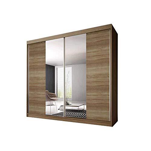E-MEUBLES Armoire de Chambre avec 2 Portes coulissantes | Penderie (tringles) avec étagères (LxHxP): 233x218x61 Ben 36 (Sonoma/chêne Sonoma+Miroir)