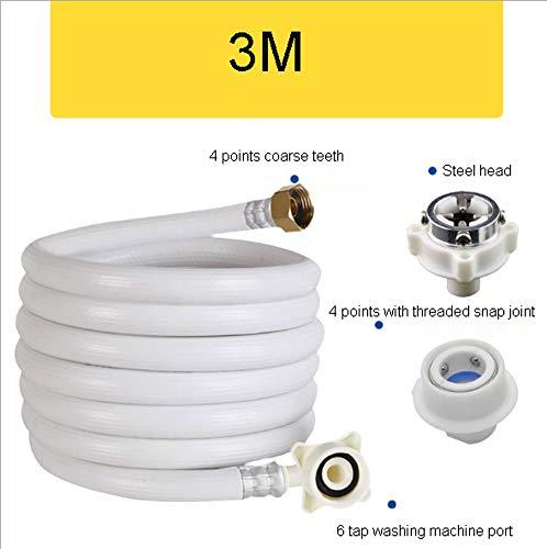 QINYUP Universelle Automatische Waschmaschine Wasserversorgung Armaturen Verlängerte zur Verlängerung der Wassereintritt Wasserrohr Buckle 4 Punkte Schraube,3M