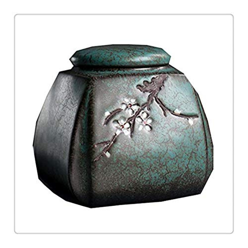 WNDRZ Pet Urn Funeral Urn Cremation Urns for Human Ashes Adult for Small Pet for Burial Urns At Home or in Niche At Columbarium (Color : Green, Size : D12.5xH12.5cm)