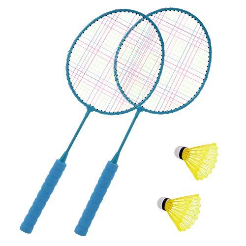 CLISPEED 1 par de Raquetas de Bádminton para Niños Juego de Deportes Al Aire Libre en Interiores Juguetes de Playa con 2 Bolas para Niños de 3 a 12 Años