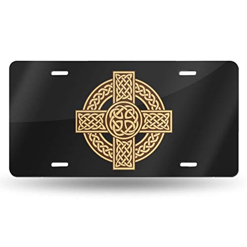 Celtic Cross Irish Scottish License Plate Vanity Auto Car Tag for Decoration 6x12 Inchs Custom Design
