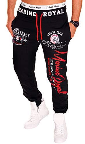Herren Hose Jogginghose Fitnesshose Sweatpants Hose Royal Marine H. 512 Schwarz-Rot S