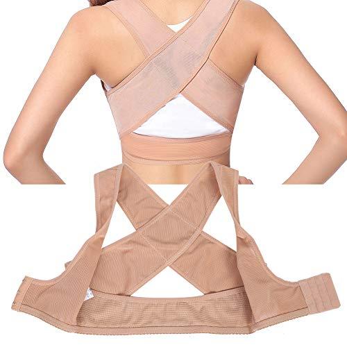 Cinturón de postura de hombro y espalda, sujetador corrector de postura transpirable con soporte para la espalda Corrector de postura para la espalda Soporte de clavícula jorobado(L-color de piel)