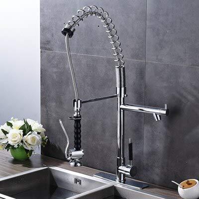 RSZHHL Wasserhahn verchromt Küchenarmatur mit Einhebelmischer Einlochmontage Hochwertige Wasserhähnemit Abdeckplatte