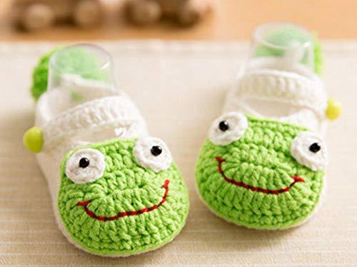 WellieSTR DIY Baby Frog Shoes Knitting Kit - Crochet Kit | Craft Amigurumi Knit and Crochet Kit DIY Crochet Kit Includes Crochet Yarn, Hook, and Needles