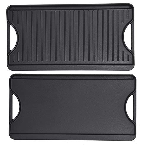GasSaf Cast Iron Reversible Griddle with Handles, 20 Inch x 10.5 Inch Big Grill Pan for Stovetop