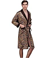 Lavenderi Mens Shawl Collar Premium Satin Robe Sleepwear (Small, Taupe)
